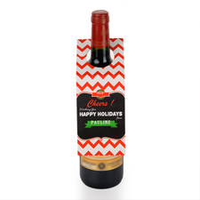 Grüße von der Schultafel Weinflasche Personalisieren Kragen Tag