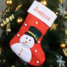 Bestickter Weihnachtsstiefel mit Schneemann