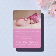 Geburtsanzeige Photo-Magnet, Pink