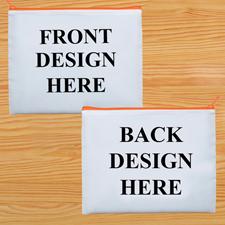 Kosmetiktasche Zwei Seiten Zwei Motive Oranger Reißverschluss Personalisieren-20,3 x 25,4 cm