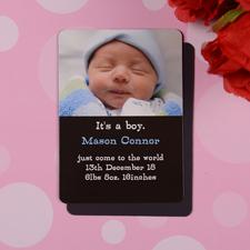 Geburtsanzeige Junge Photo-Magnet, Schwarz