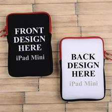 iPad Mini Tasche Hochformat Beidseitig Personalisieren Reißverschluss Rot 21,0 x 14,6 cm