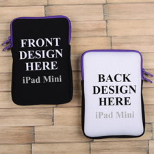 iPad Mini Tasche Hochformat Beidseitig Personalisieren Reißverschluss Lila 21,0 x 14,6 cm