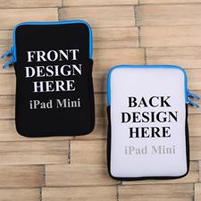 iPad Mini Tasche Hochformat Beidseitig Personalisieren Reißverschluss Blau 21,0 x 14,6 cm
