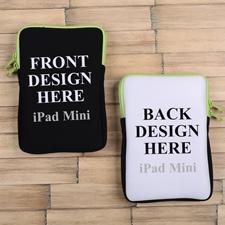 iPad Mini Tasche Hochformat Beidseitig Personalisieren Reißverschluss Grün 21,0 x 14,6 cm