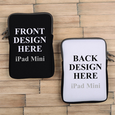 iPad Mini Tasche Hochformat Beidseitig Personalisieren Reißverschluss Grau 21,0 x 14,6 cm