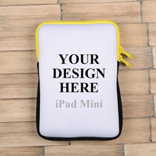 Gelber Reißverschluss iPad Mini Hülle Hochformat Einseitig Personalisieren 21,0 x 14,6 cm