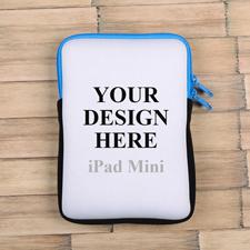 Blauer Reißverschluss iPad Mini Hülle Hochformat Einseitig Personalisieren 21,0 x 14,6 cm