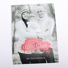 Fröhliche Weihnachten Schneeflocken Rot Foto Weihnachtskarte 127x178