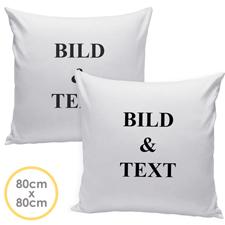 Personalisierter Kissenbezug Vorderseite und Rückseite selbstgestalten 80 cm x 80 cm