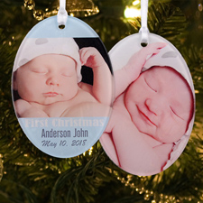 Boy First Christmas Personalized Photo Acrylic Oval Ornament