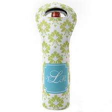 Hellgrün Pfauenblau Weintasche aus Neopren Beide Seiten Personalisieren