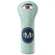 Grün Pfauenblau Weintasche aus Neopren Beide Seiten Personalisieren