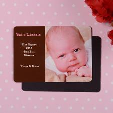 Es ist ein Mädchen Geburtsanzeige Fotomagnet, Braun