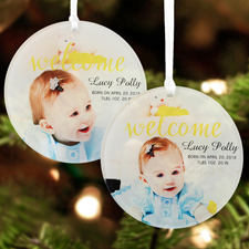 Welcome Baby Personalized Photo Acrylic Round Ornament