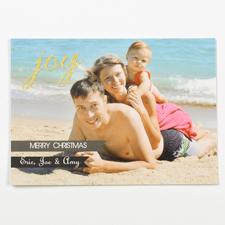 Fröhliche Feiertage Holz und Gold Fotokarte Weihnachten 127x178