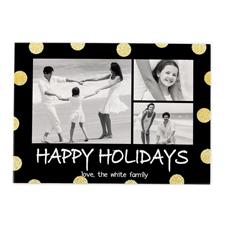 Frohe Feiertage Schwarz Gold Glitzer Personalisierte Weihnachtskarte 127x178