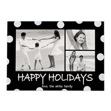 Frohe Feiertage Schwarz Silber Glitzer Personalisierte Weihnachtskarte 127x178
