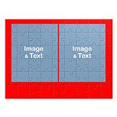 Kollagepuzzle 2 Photos, Rot, Hochformat