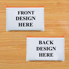Schminkbeutel Vorne/Hinten Unterschiedlich Personalisieren 24,1 x 33,0 cm Reißverschluss Orange