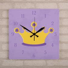 Prinzessin Wanduhr Personalisieren Acryl Quadratisch 27,3 cm
