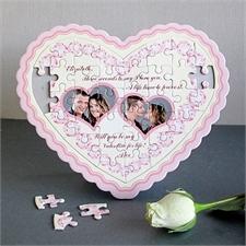Personalisiertes Herzpuzzle Pink Diamant
