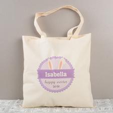Lavendel Osterhasenohren Baumwolle Budget Stofftasche Personalisieren