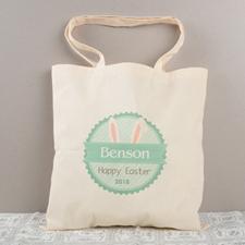Grüne Osterhasenohren Baumwolle Budget Stofftasche Personalisieren
