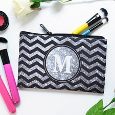 Silber Glitzer und Schwarze Winkel Kosmetiktasche Beide Seiten gleich Personalisieren