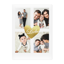Herz Rote Metallbeschichtung Fotokarte Valentinstag Personalisieren 127x178