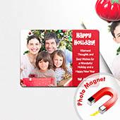 Schöne Feiertage Fotomagnet, Rot