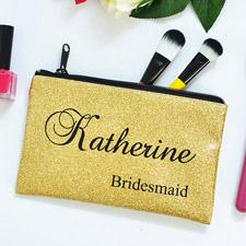 Goldglitzer Kosmetiktasche für Brautjungfern Personalisieren Medium