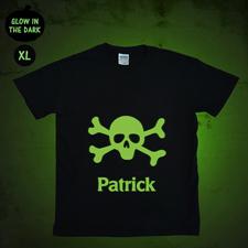 Totenkopf Leuchtendes T-Shirt Glow Personalisieren Baumwolle Größe XL