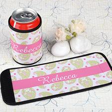 Pinkes Muster Flaschenkühler Dosenkühler Personalisieren