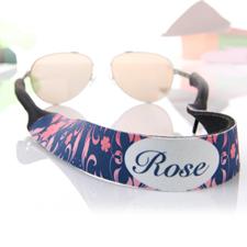 Pink Navy Sonnenbrillenband Blumenmuster Personalisieren
