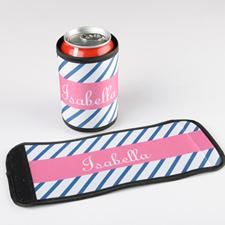 Dunkelblaue Streifen Flaschenkühler Dosenkühler Personalisieren