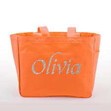 Glitzer Baumwolltasche Text Foto Personalisieren Accessoire Orange