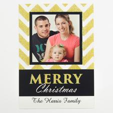 Glitzer Gold Foto Weihnachtskarte 127x178 mm
