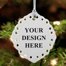 Keramikschmuck Weihnachten Oval Filigran Hochformat Einseitig Personalisieren