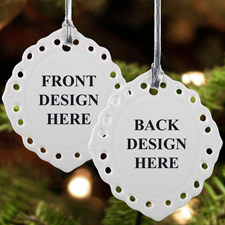 Keramikschmuck Weihnachten Oval Filigran Hochformat Beidseitig Personalisieren