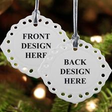Bunter Keramikschmuck Weihnachten Oval Filigran Hochformat Beidseitig Personalisieren