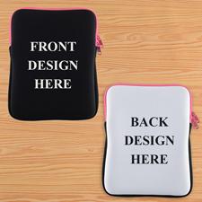 Hot Pink New iPad & 2,3,4 Sleeve beidseitig personalisieren Hochformat 195 x 250 mm Neopren