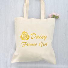 Flower Power Girl Glitzer Baumwolle Budget Stofftasche Personalisieren