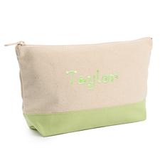 Hellgrün Weiße Mittelgroße Bestickte Kosmetiktasche Gestalten 16,5 x 24,1 cm