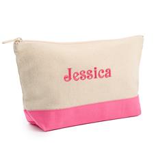 Hot Pink Weiße Mittelgroße Bestickte Kosmetiktasche Gestalten 16,5 x 24,1 cm