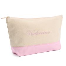 Pink Weiße Mittelgroße Bestickte Kosmetiktasche Gestalten 16,5 x 24,1 cm