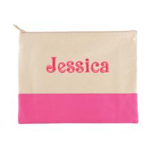 Große Bestickte Kosmetiktasche Gestalten 22,9 x 29,8 cm Hot Pink
