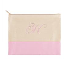 Große Bestickte Kosmetiktasche Gestalten 22,9 x 29,8 cm Pink