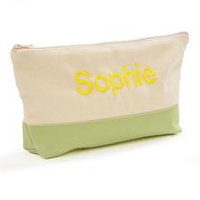 Grün Weiß Bestickte Kosmetiktasche Personalisieren 17,8 x 27,9 cm
