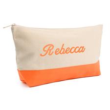 Orange Weiß Bestickte Kosmetiktasche Personalisieren 17,8 x 27,9 cm